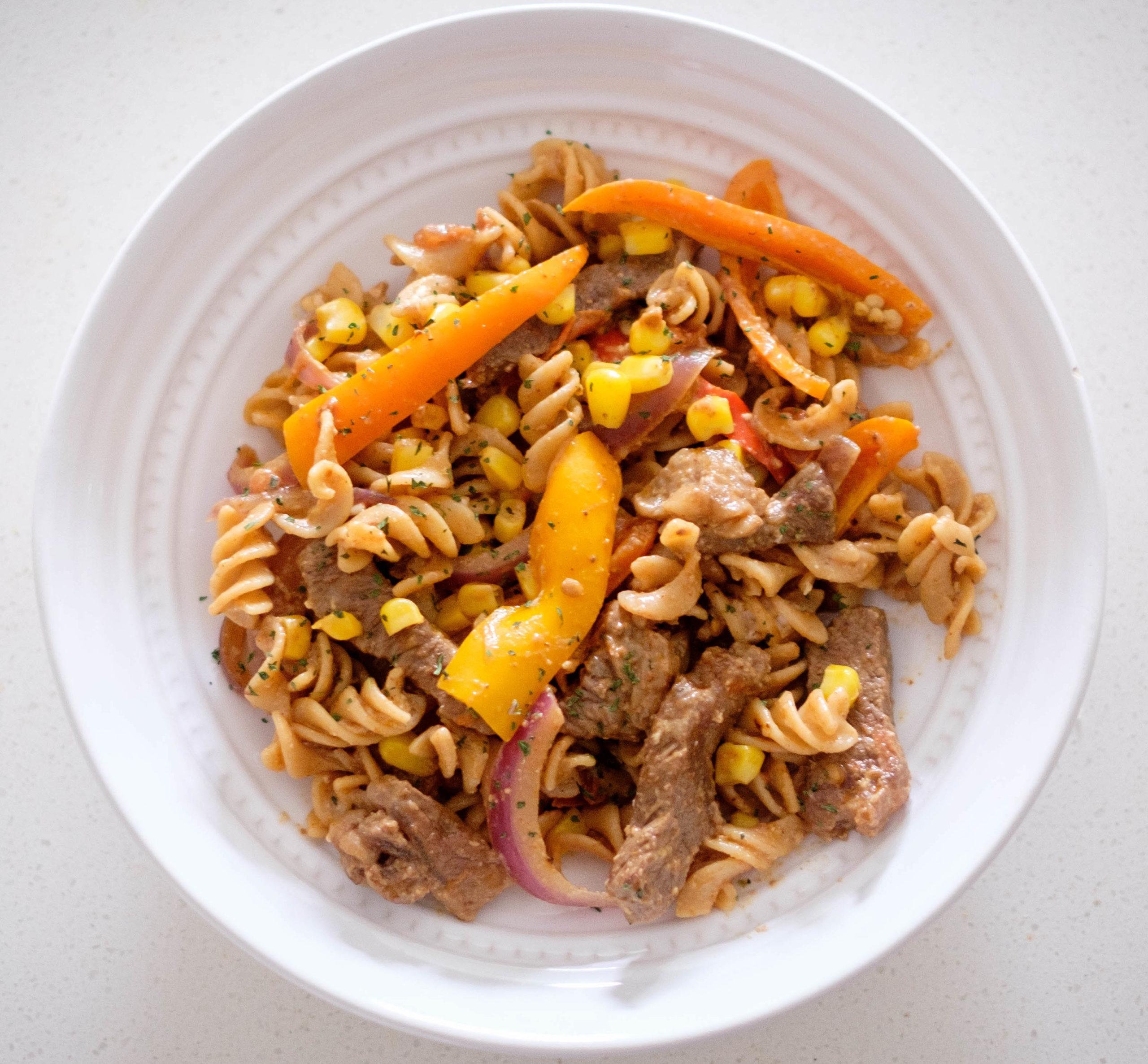 Beef fajita pasta