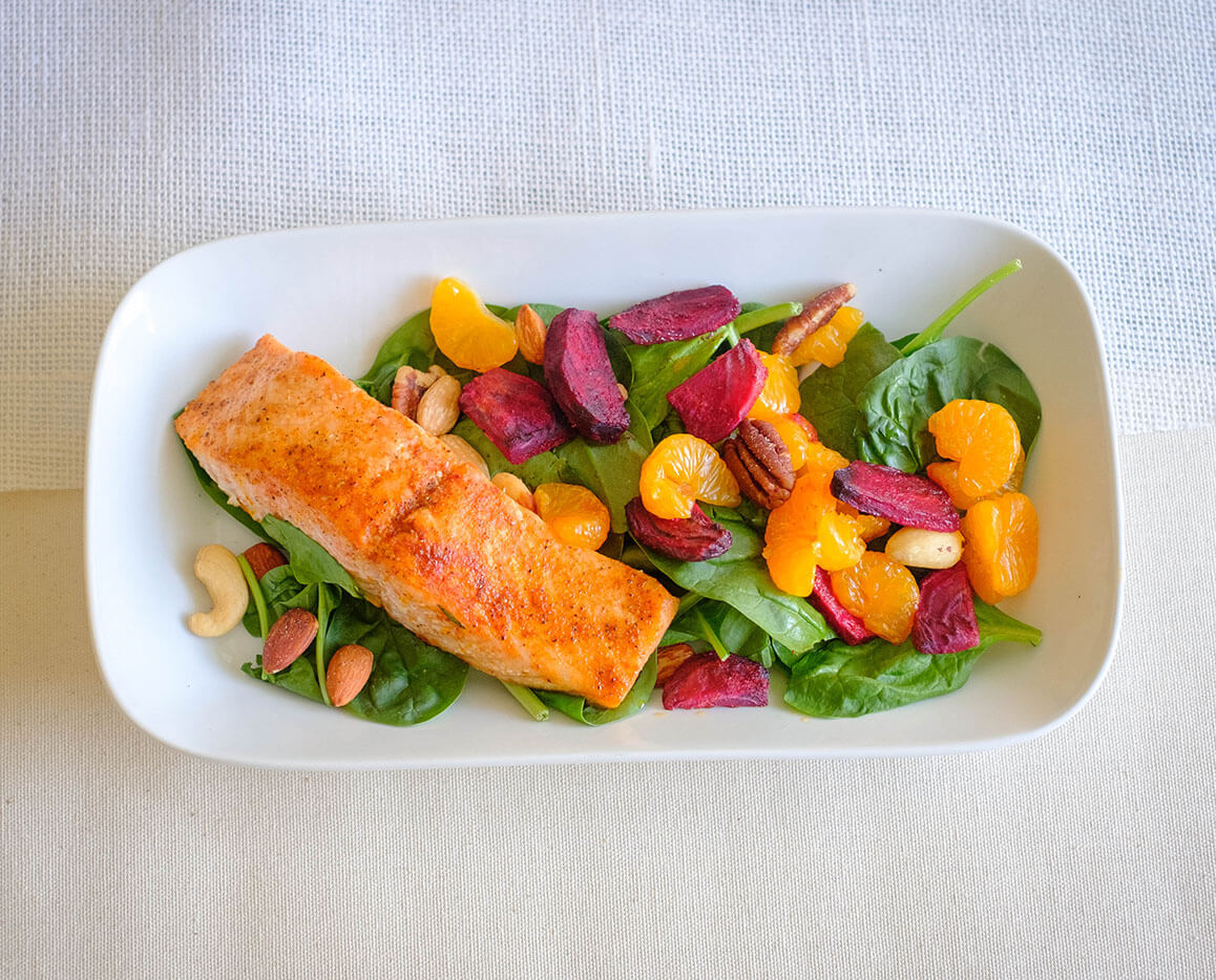salmon with roasted beets