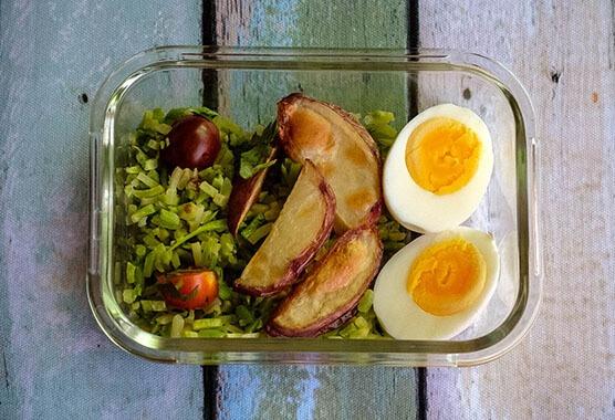 eggs and potatoes and broccoli