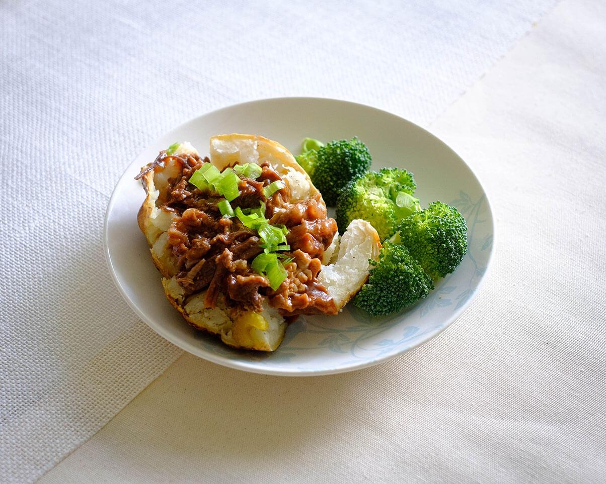 baked potato and broccoli