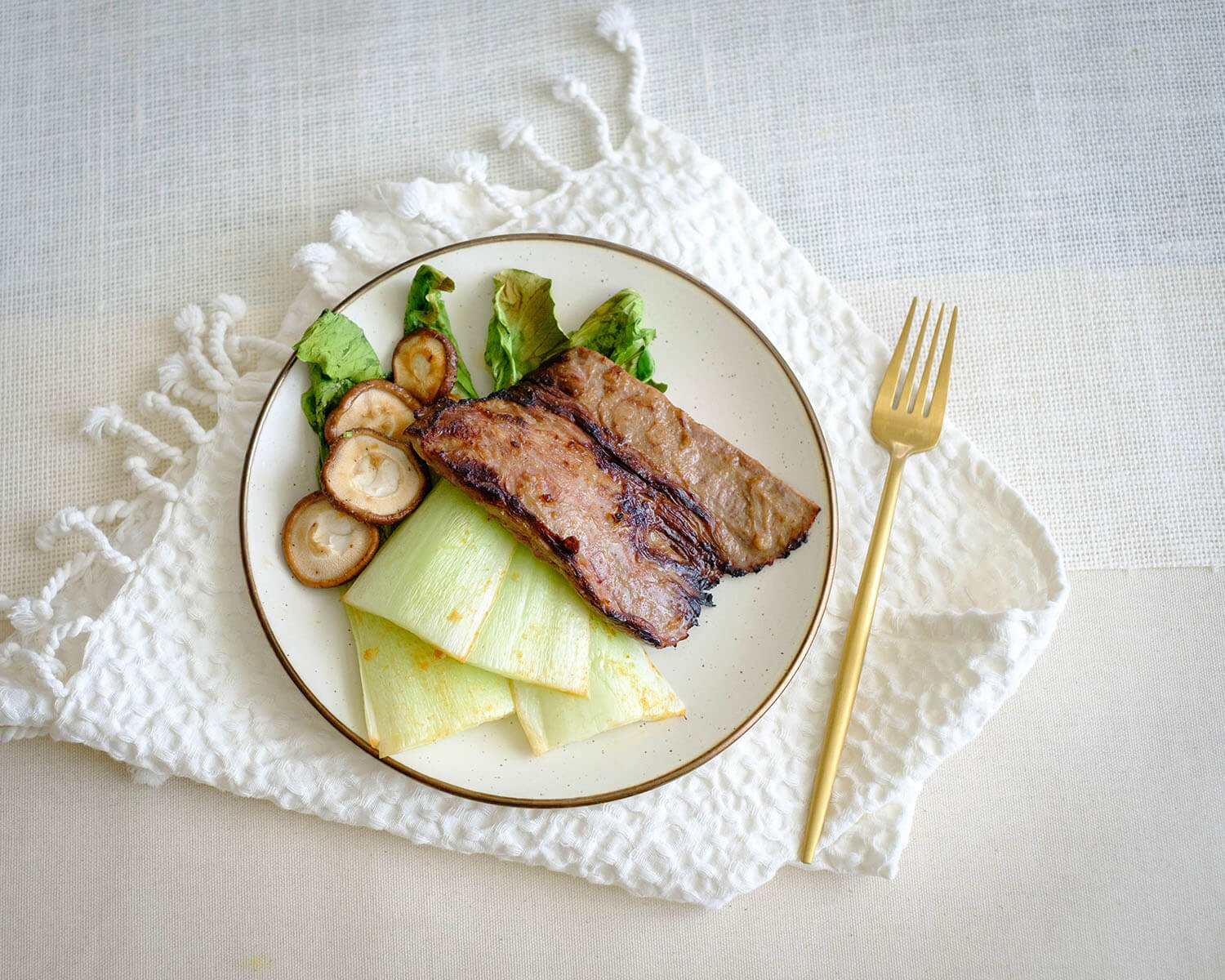 steak and bok choy
