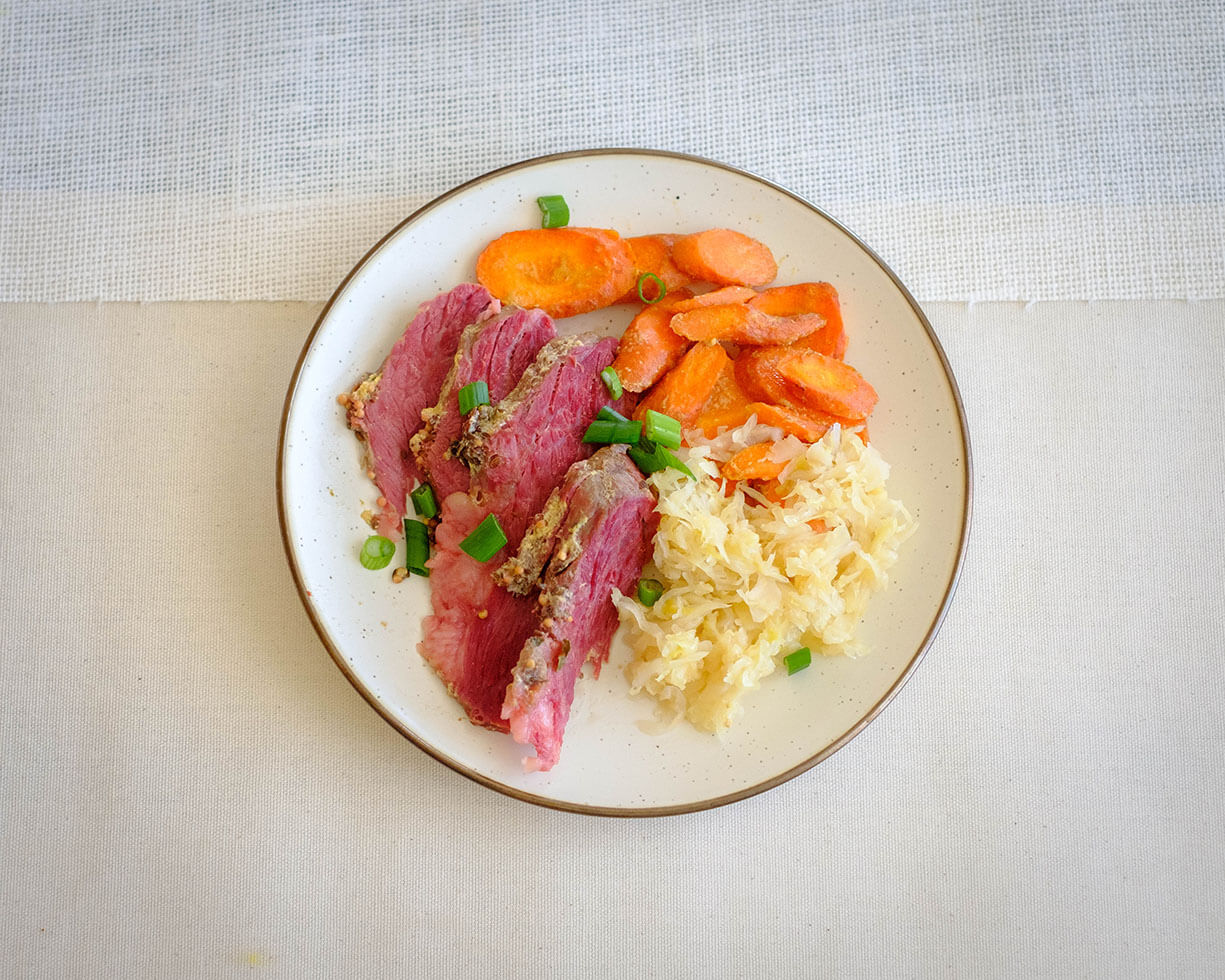 corn beef with glazed carrots