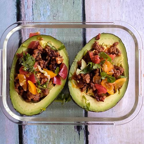avocado and taco meat